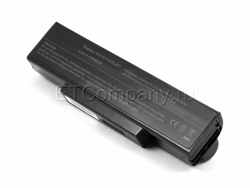 Аккумулятор для Asus A72, A73, K72, K73 серии усиленный, черный