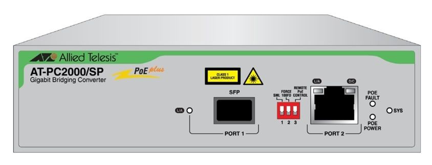 Медиаконвертер Allied Telesis AT-PC2000/SP-60 2xGbit Speed/Media Conver Swi PoE 1000T POE+ 1000X(SFP)