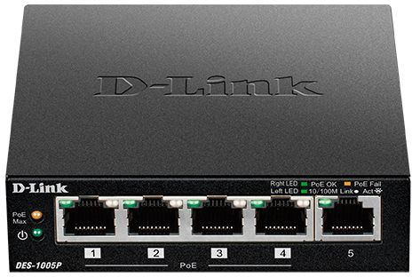 Коммутатор D-Link DES-1005P/B1A 5x100Mb 4PoE 60W неуправляемый