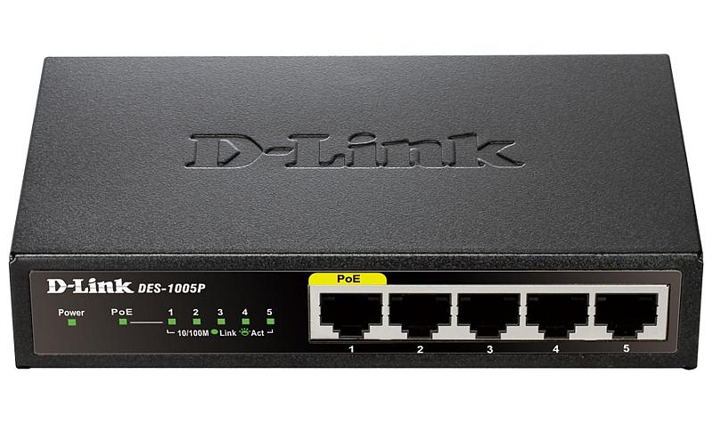 Коммутатор D-Link DGS-1005P/A1A 5G 4PoE 60W неуправляемый