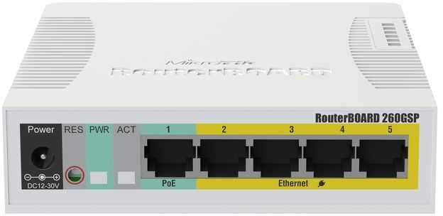 Коммутатор MikroTik RB260GSP 5G 1SFP 5PoE управляемый