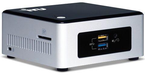Неттоп IRU NUC 111 Cel N3050 (1.6)/4Gb/SSD120Gb/HDG/CR/Free DOS/GbitEth/WiFi/BT/65W/черный/серебристый