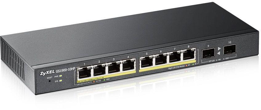 Коммутатор Zyxel GS1900-10HP-EU0101F 10G 2SFP 8PoE 77W управляемый