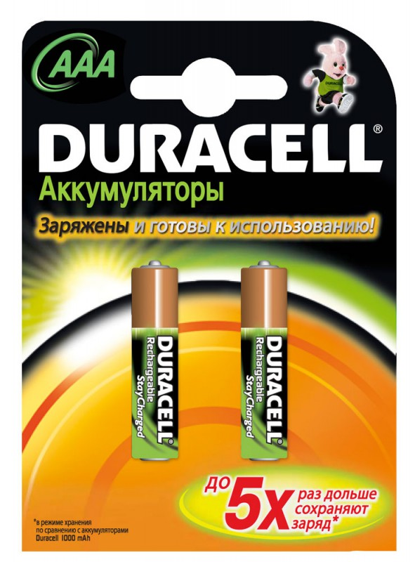 Аккумулятор Duracell Rechargeable HR03-2BL AAA NiMH 900mAh (2шт)