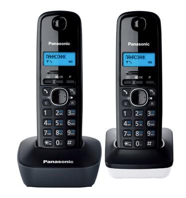Р/Телефон Dect Panasonic KX-TG1612RU1 темно-серый/белый (труб. в компл.:2шт) АОН