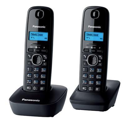 Р/Телефон Dect Panasonic KX-TG1612RUH темно-серый (труб. в компл.:2шт) АОН
