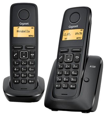 Р/Телефон Dect Gigaset A120 Duo черный (труб. в компл.:2шт) АОН