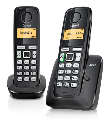 Р/Телефон Dect Gigaset A220 Duo черный (труб. в компл.:2шт) АОН