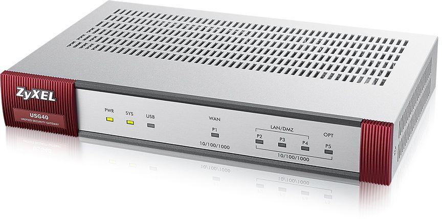 Сетевой экран Zyxel USG40 (USG40-RU0102F) 10/100/1000BASE-TX компл.:набор подписок на 1 год AS/AV/CF/IDP серебристый