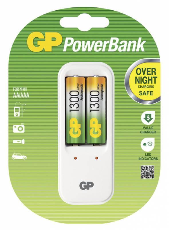Аккумулятор + зарядное устройство GP PowerBank PB410GS130 + 1300mAh AA (2шт. уп)